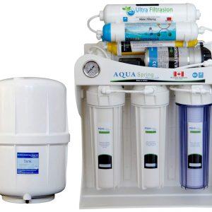 دستگاه دو گانه تصفیه کننده آب آکوآ اسپرینگ مدل UF-SF3800 به همراه فیلتر دستگاه تصفیه کننده آب بسته 4 عددی