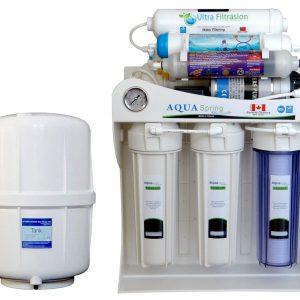 دستگاه دو گانه تصفیه کننده آب آکوآ اسپرینگ مدل UF-SF4000 به همراه فیلتر دستگاه تصفیه کننده آب بسته 4 عددی